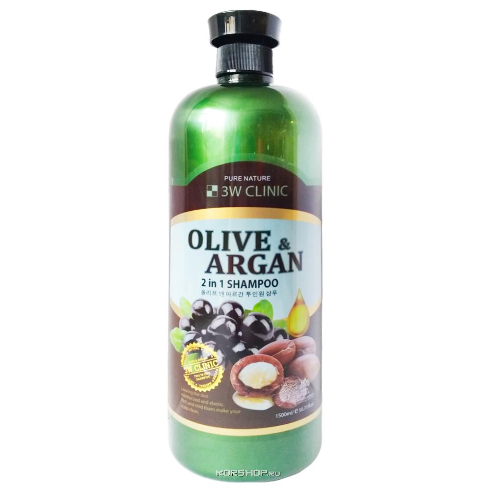3W CLINIC Шампунь для волос АРГАНОВОЕ МАСЛО И ОЛИВА Olive&Argan 2in1 Shampoo,1500 МЛ
