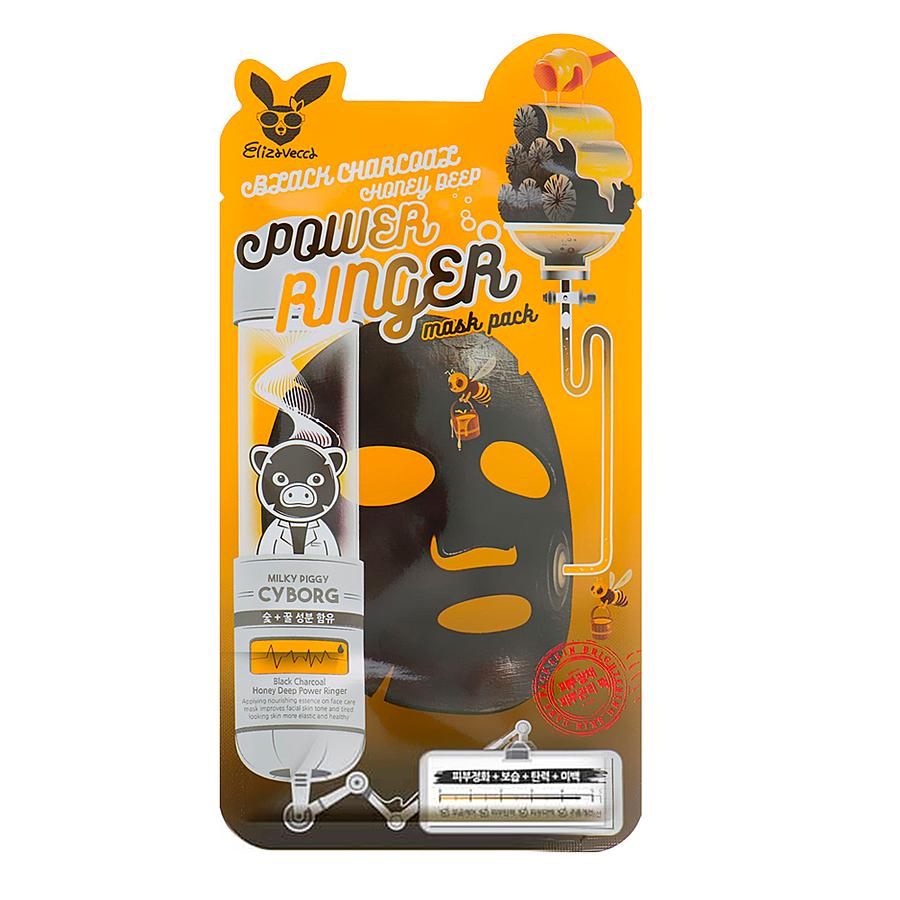 Маска для лица тканевая с древесным углем и медом Elizavecca Black Charcoal Honey Deep Power Ringer Mask Pack