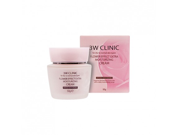 3W CLINIC УВЛАЖНЕНИЕ Крем д/лица Flower Effect Extra Moisture Cream, 50 гр
