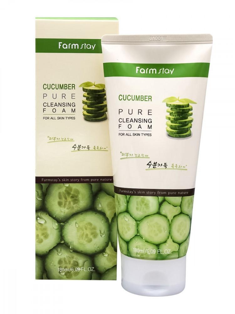 Очищающая пенка для чувствительной кожи лица с экстрактом огурца FarmStay Cucumber Pure Cleansing Foam
