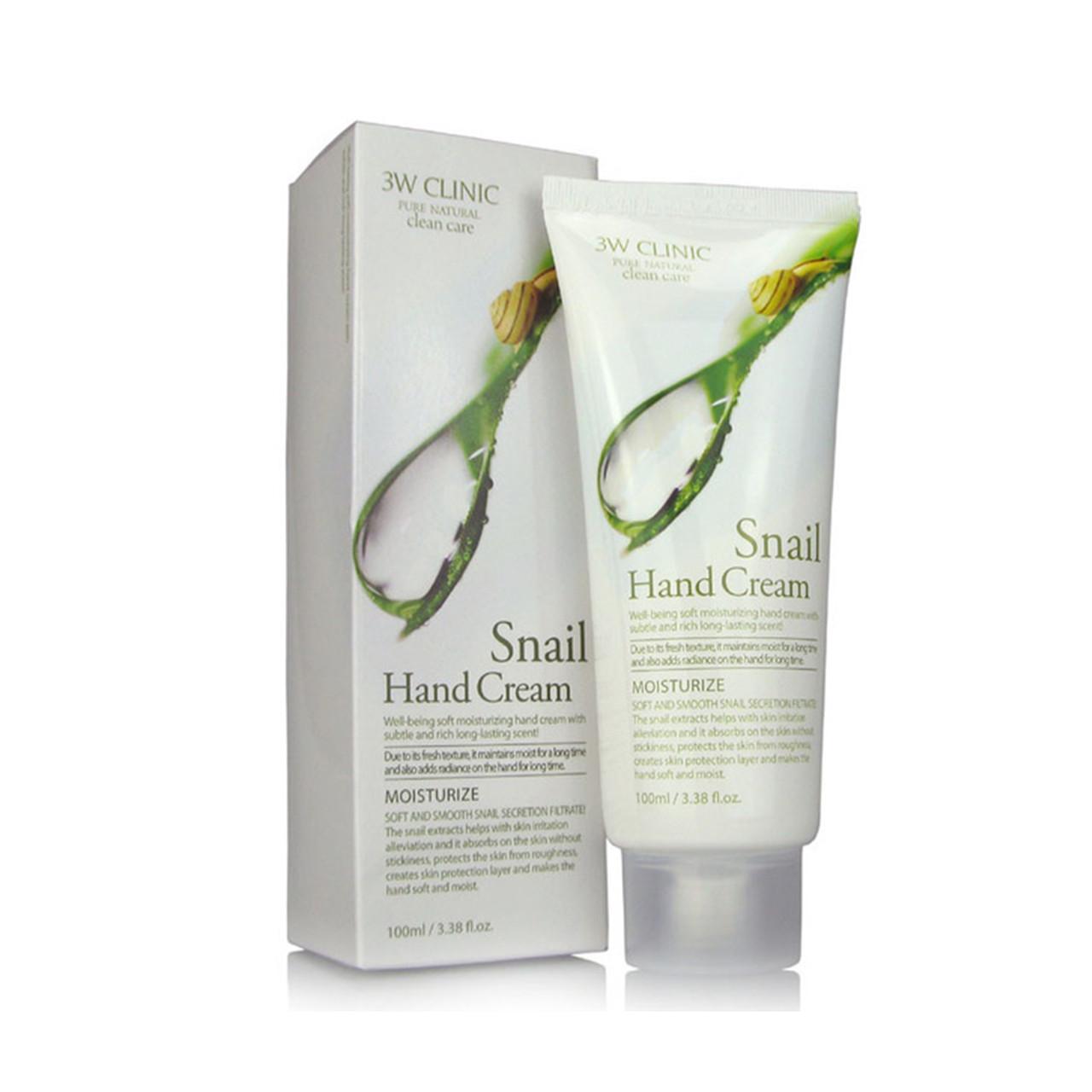 3W CLINIC Крем для рук увлажняющий УЛИТОЧНЫЙ МУЦИН Snail Hand Cream, 100 мл