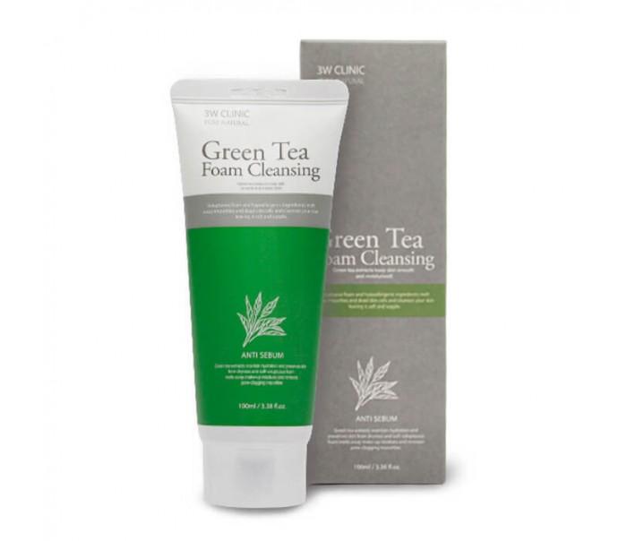 3W CLINIC Пенка для умывания ЗЕЛЕНЫЙ ЧАЙ Green Tea Foam Cleansing, 100 мл
